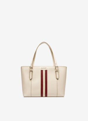 WHITE BOVINE SPLIT Tote Bags - Bally