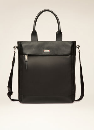 BLACK MIX COTTON/SYNT Tote Bags - Bally
