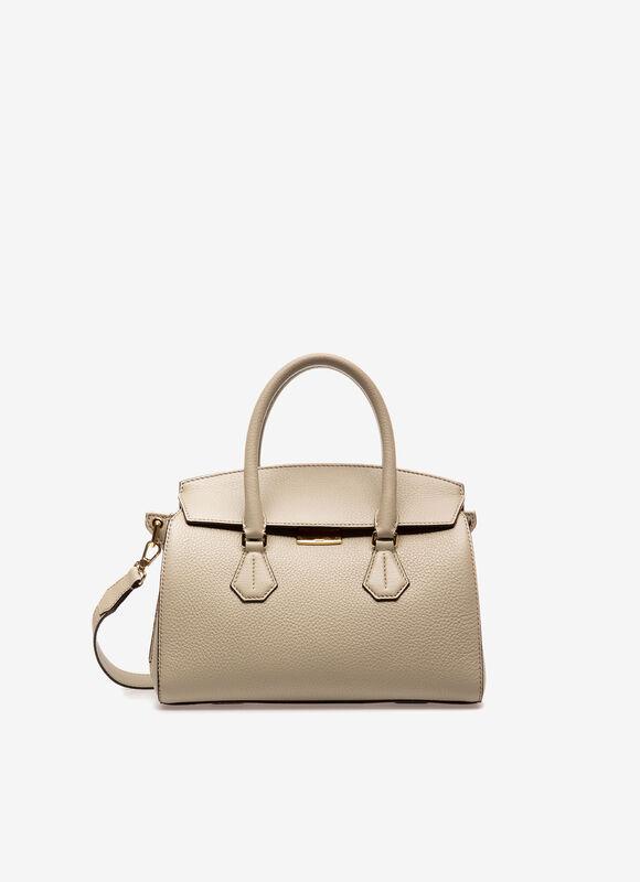 Saphyr Small   Womens Top Handle Bag   Neutral Grey Leather   Bally