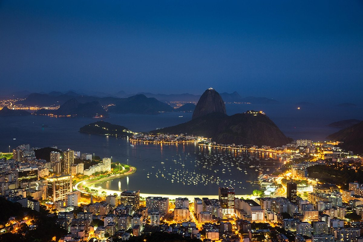 View of Rio de Janeiro bay by night
