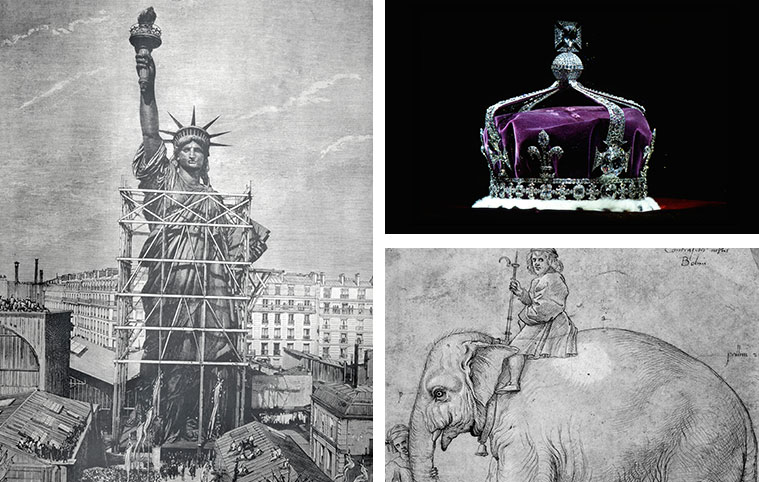 The Statue of Liberty, Crown Jewels, and Jumbo III the elephant, three extravagant gifts throughout history