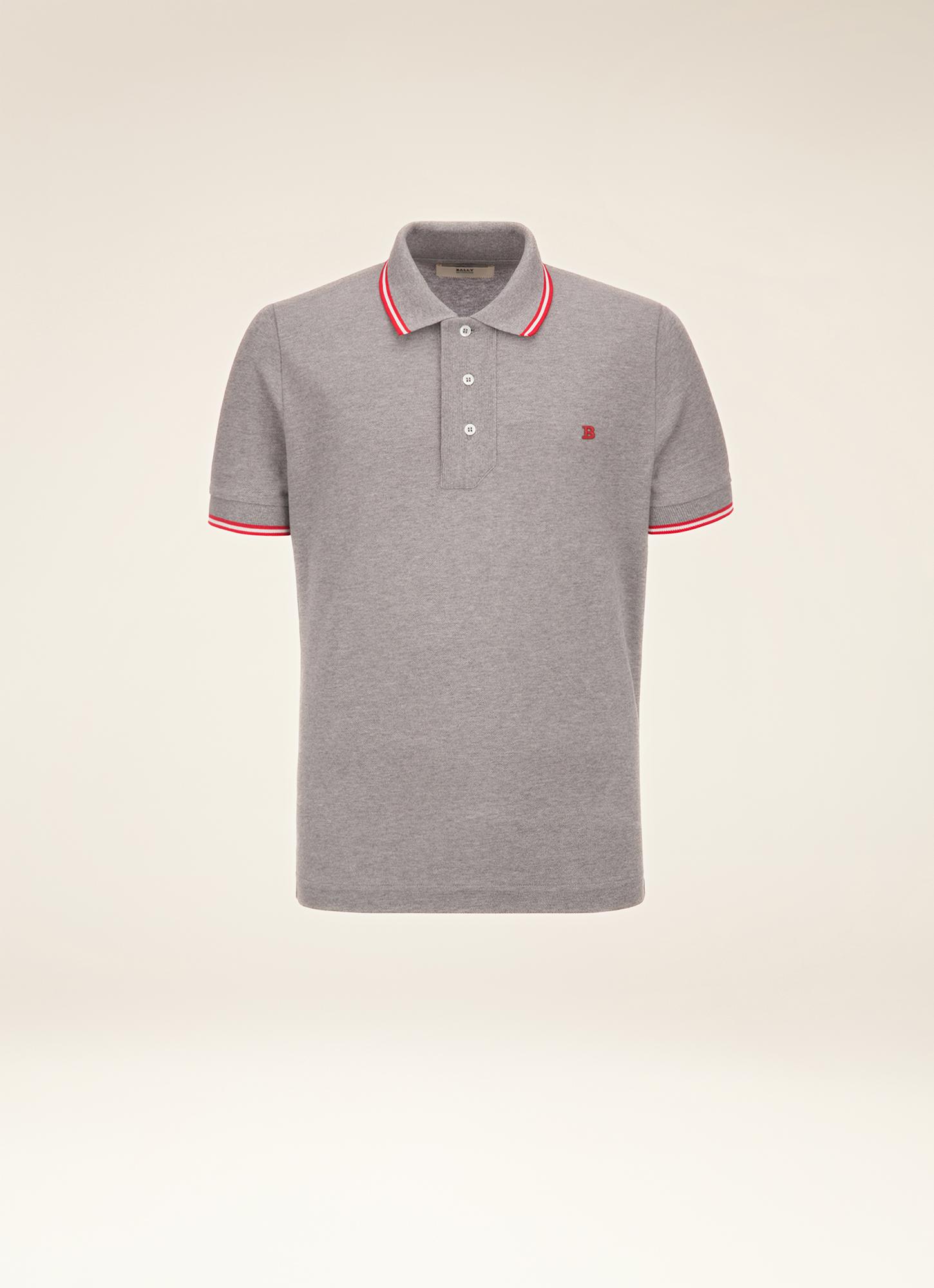 Striped Neck Polo Shirt| Mens Polo Shirt | Grey Cotton | Bally